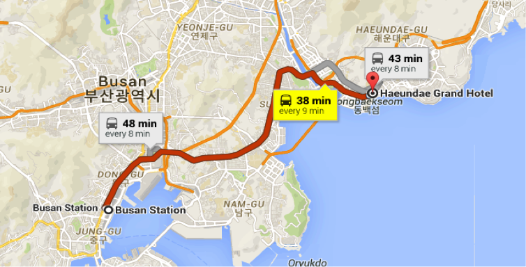 After getting off KTX at Busan Station, Walk to Busan bus station (211m, 3mins) and Get on the bus with number 1003 and Get off the bus after passing 12 stations at 'Entrance to Dong Baek island' (동백섬입구) and Walk 230m to Haeundae Grand Hotel